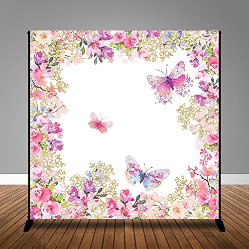 MME 10x10ft Butterfly Background Pink Theme Fantasy Colorful Butterfly Plant Floral Decorative Background Photography Banner Picture Child Birthday Shower Backdrop Decor BJHXME190