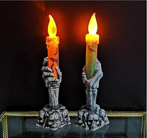 CoolWow 2pcs Halloween LED Flash Ghost Hand Holding Candle,Skull Candlestick lámpara,Luz de vela sin llama