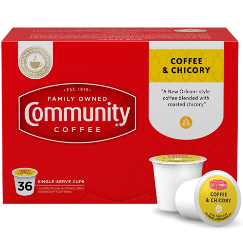 Community Coffee Single Serve K-Cup Compatible Coffee & Chicory Pods, 36 Count