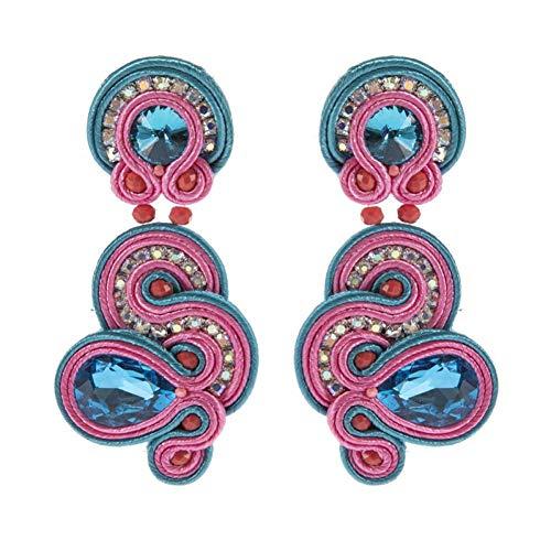 AIERSHI Ethnische Art-Leder-Tropfen-Ohrring-Art- Und Weiseschmucksachen Für Frauen Soutache Handgemachter Spinnender Hängender Ohrring