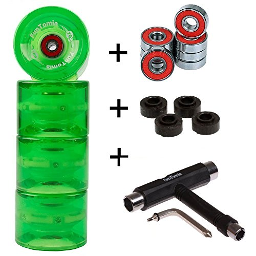 FunTomia 4 Stück (LED) Longboard/Skateboard Rollen (Big Wheels) in 70x51mm 80A inkl. Mach1® Kugellager und Metall Spacer 80A Rollenhärte + T-Tool