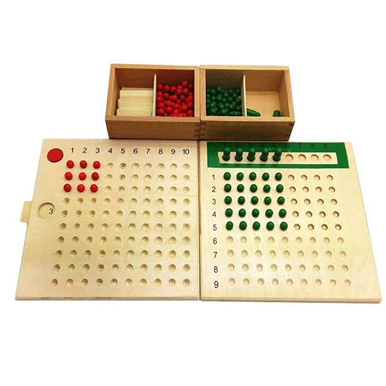 Braceus Wooden Montessori Materials Mathematics Teaching Toys Multiplication & Division Math Toy Beads Board Red Green Early Learning Toy