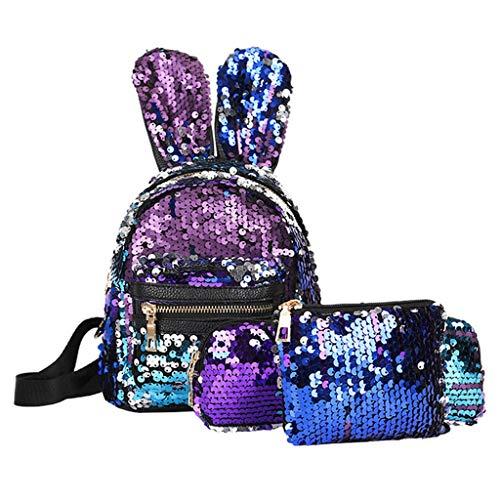 aiyvi Kinderrucksäcke Verfärben Pailletten Rucksack 3 pcs Set,Frauen Mädchen Daypacks Glitzer Schultasche Handtasche Multifunktion Mode Umhängetasche Messenger Bag Crossbody