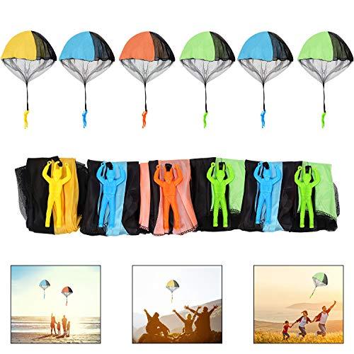 Ulikey 6 Stück Fallschirmspringer Spielzeug, Kinder Hand Werfen Fallschirm Kreative Spielzeug Geschenk für Draußen (Zufällige Farbe)