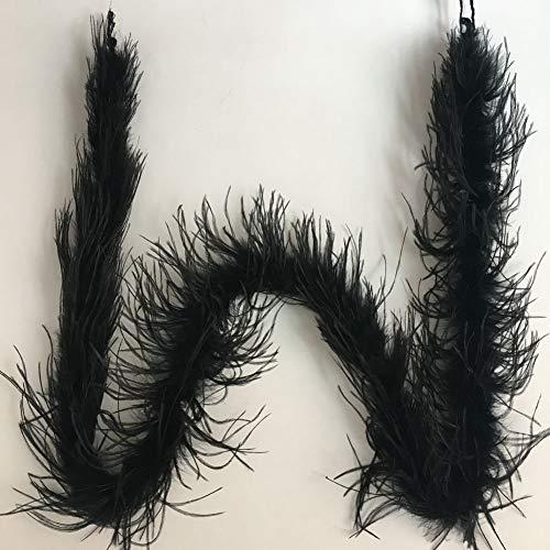Adamai - Boa de plumas de avestruz natural de 72 pulgadas para disfraz de Halloween negro