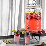 3 Gallon Glass Beverage Dispenser with 18/10 Stainless Steel Spigot- 100% Leak Proof - Wide Mouth Easy Filling- Drink Dispenser Keeps Beverage Cold For Outdoor, Parties and Daily Use