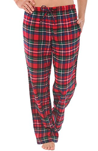 Alexander Del Rossa Women's Flannel Pajama Pants, Long Cotton Pj Bottoms, Large Blue Red and Green Plaid (A0702Q19LG)