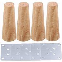 BQLZR 15 x 5.8 x 3.8 cm Sillas de madera de color cónico sofá de madera Sustitución de patas de muebles Pack de 4