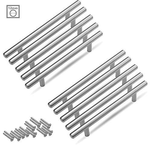 Aufun Möbelgriffe 160mm Edelstahl Gebürstet 10 Stück Küchengriff Türgriff Schubladegriff aus Gebürsteter Silber Ø 12 mm, Gesamtlänge: 250 mm
