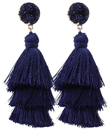 Rave Envy Pendientes de borla coloridos para mujer, pendientes de borla en capas, colores a elegir Una talla le queda a la mayoría azul