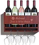 INNEST Portabottiglie da parete con Porta bicchieri | Scaffale Salva spazio per 5 bottiglie di Vino e 4 calici | Facile da installare | Arredo casa Vintage per cucina, Sala, Bar, cantinetta, taverna
