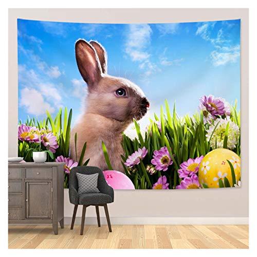 JHWSX Tapiz de Pascua, Tapiz de Pascua para Colgar en la Pared, Muñeca de Conejo Gris de Pascua con Un Enorme Tapiz de Caramelo para Colgar en la Pared, Decoración del Hogar como Toalla de Playa