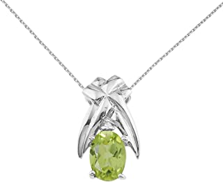 Jewels By Lux 14k White Gold Genuine Birthstone 7x5 mm Gemstone and Diamond Oval Shaped Pendant (4/5 Cttw.)