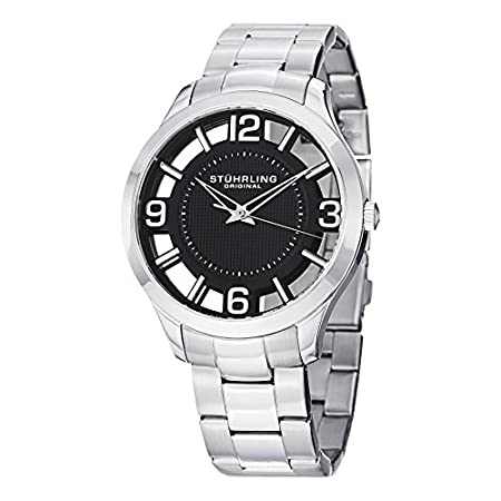 Fashion Shopping Stuhrling Original Men's 754.02 Winchester Swiss Quartz Transparent Black Dial Watch