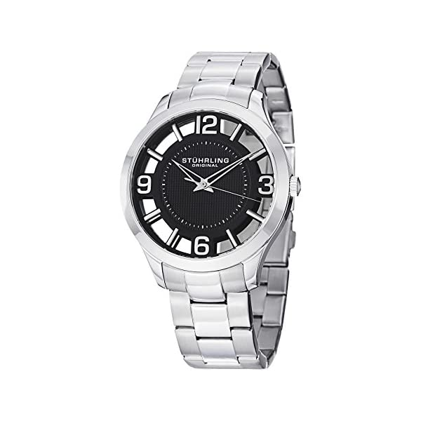 Fashion Shopping Stuhrling Original Men's 754.02 Winchester Swiss Quartz Transparent Black Dial