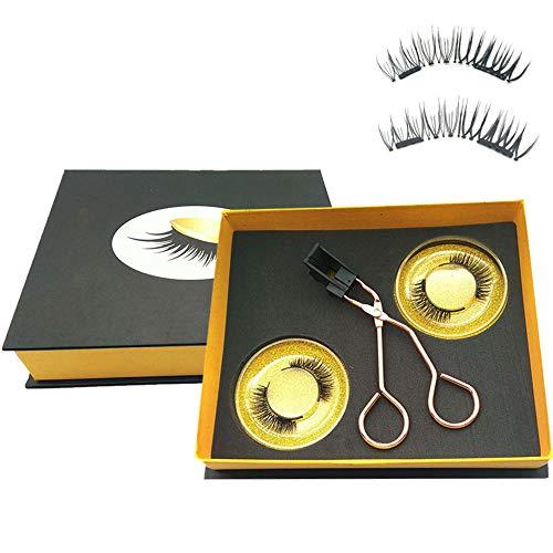 Magnetic Eyelashes Applicator Tool Kit,Glue-free Magnetic Eyelash Clip,Eyelashes Short Set with 2 Pairs Magnetic False Eyelashes,Magnetic Eyelashes No Eyeliner,Natural Look Thick Look(NATURAL STYLE)