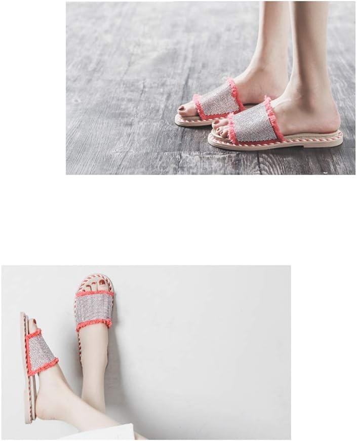 Indossano zomerschoenen en pantoffels Le Vrouwen Indossano zomerschoenen Moda veelzijdige vloer pailletten strass halve schoenen zachte sandalen teenslippers comfortabel strand Mare platform rood
