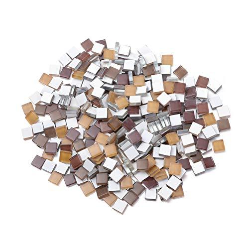 Milisten - Lote de 300 azulejos de mosaico cuadrados de cristal de mosaico, piedras de cristal de mosaico para marcos de fotos, bricolaje, artesanía, decoración marrón