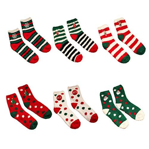 yhdcc44 6 pares de calcetines de invierno para mujer, con bordado, térmicos, para interior y exterior, cálidos, para Navidad, festival, regalo Color mixto 1 M