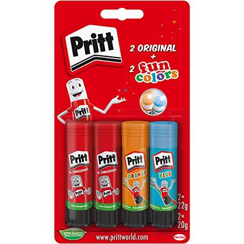 Pritt Colla stick, colla sicura e adatta ai bambini, per lavori artistici e artigianali, colla forte per la scuola e l'ufficio, 2 x 22 g originali e 2 x 20 g penne colorate (blu, arancione), 9H PTFCS