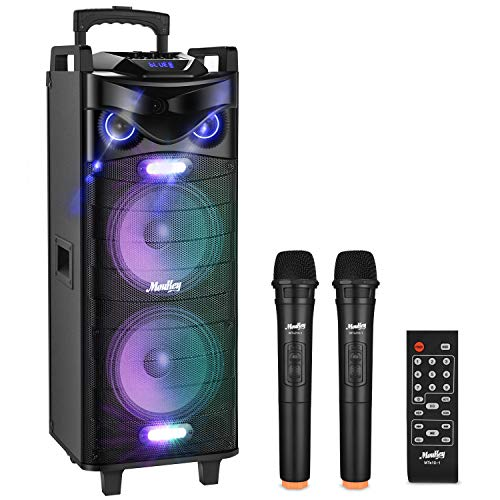 Moukey Karaoke Machine Speaker PA System,RMS 280W Bluetooth Karaoke Speaker System PA Stereo with Double 10' Subwoofer,DJ Lights,Rechargeable Battery, 2 VHF Microphones, Recording,MP3/USB/TF/FM Radio