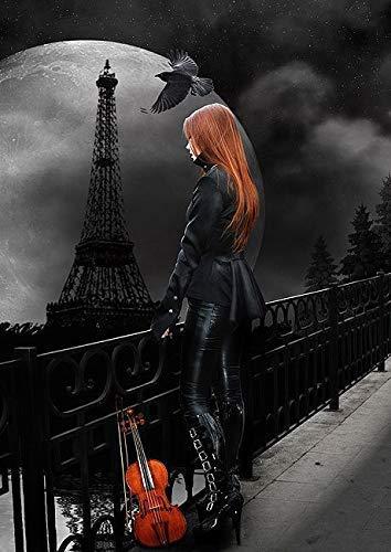 Rahmen-Kunst Keilrahmen-Bild – Babette: Lonely Paris Leinwandbild Mädchen Frau Fantasy Gothic Eiffelturm Geige