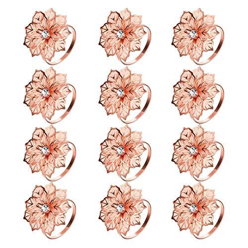 Kirmax 12 StüCk Legierung Servietten Ringe mit Ausgeh?Hlten Blume Servietten Halter Blumen Strass Strass Servietten Ringe Schmuck Exquisit