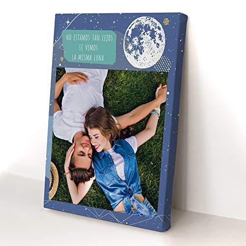 """Fotoprix Stampa su tela personalizzata con foto a partire da un disegno """"Te Echo de Menos"""", regalo originale per amici, vari disegni e dimensioni (Luna, 40 x 50 cm)"""