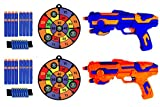 Fstop Labs Compatible with Nerf, 2 Pack Set Foam Hand Gun Toy Blaster Gun with Light with 2 Foam Dart Wrist Band, 2 Pcs Target and 30 PCS Refill Soft Foam EVA Darts