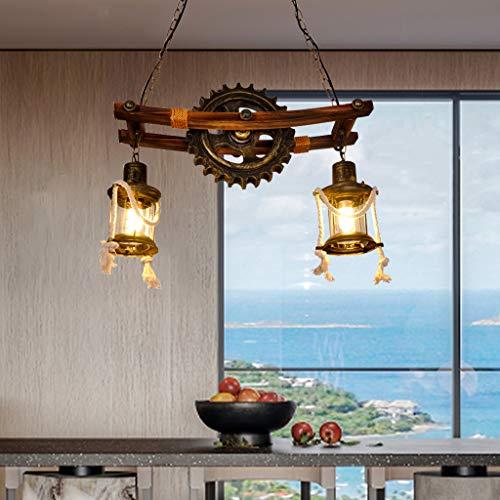 Lámpara colgante retro Lámpara de techo E27 industrial vintage madera rústica de...