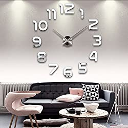 FASHION in THE CITY 3D DIY Mirror Surface Wall Clock Large Size Wall Decorative Clocks Silent Non Ticking Movement Clock Hands (Silver)