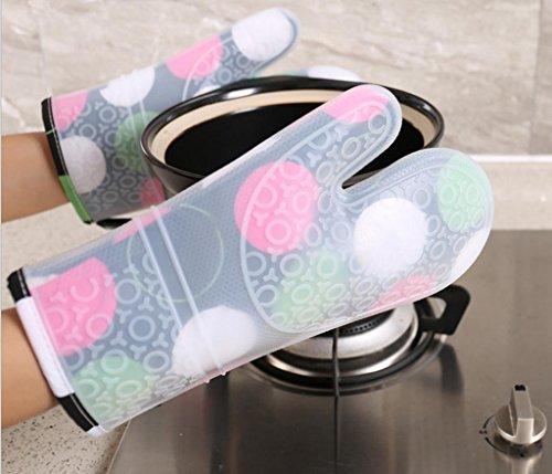 Dbtxwd Gants de silicagel isolation haute température Plus de coton épaississement cuisson Anti-hot anti-dérapants isolation micro-ondes four gants (pack de 2) , 1