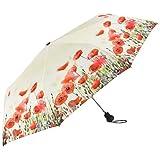 VON LILIENFELD Paraguas Bolsillo Mujer Ligero Estable Automática Motivo Floral Amapolas