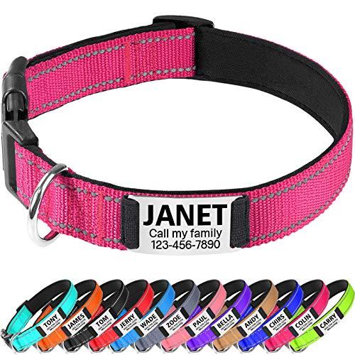 TagME Hundehalsband Kleine Hunde,Reflektieren Hunde Halsband mit Name und Telefonnummer,Leuchtend Rosa S