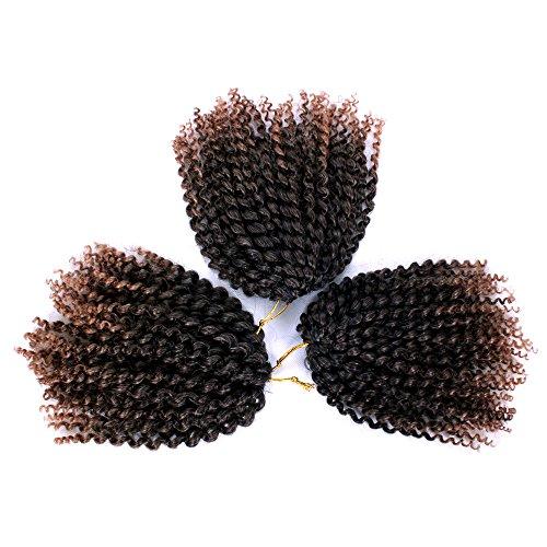 3 pièces par lot - Tresses au crochet Malibob couleur noir et marron - Extensions capillaires synthétiques ombrées de 20,32 cm - Boucles ondulées