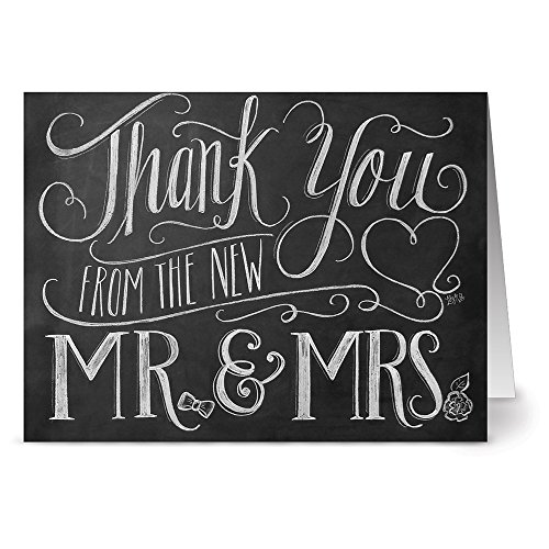 Note Card Cafe Newlywed Cards with Kraft Envelopes | 72 Pack | Blank Inside, Glossy Finish | New Mr. & Mrs. Unique Design | Bulk Set for Bride and Groom, Thank You, Greeting Card