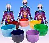 Kristallklangschale Klangschalen Kristall Chakra Farben Set + Taschen Chakren