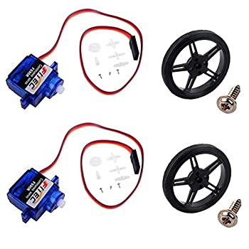 Feetech FS90R 360 Degree Continuous Rotation Micro Servo Motor + RC Tire Wheel for Arduino Microbit  Pack of 2