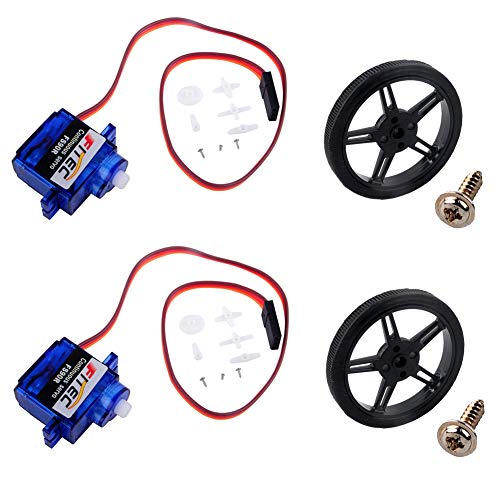 Feetech FS90R 360 Degree Continuous Rotation Micro Servo Motor + RC Tire Wheel for Arduino Microbit (Pack of 2)