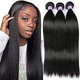 8A Peruvian Straight Human Hair 3 Bundles (12 14 16,300g) 100% Unprocessed Remy Virgin Straight Human Hair Bundles 1B Color Peruvian Straight Human Hair Weave Extensions