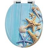 Juskys WC Sitz Ocean mit Absenkautomatik & Deckel | MDF Holz | verchromte Scharniere | Motiv Toilettensitz Toilettendeckel Klodeckel