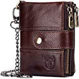 Leather Men Wallet with Anti-Theft Chain,Genuine Leather RFID Blocking Vintage Hasp Bifold Wallets Multifunctional Card Holder Minimalist Purse Zipper Coin Pocket with ID Window (Coffee)