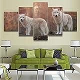 65Tdfc Stampe E Quadri su Tela 5 Pezzi Animal White Wolf Predator Poster HD Stampato Disegni su Tela Quadri Murali Quadro Immagini Decorative per La Casa