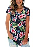 Plus Size Tops for Women Short Sleeve V Neck Tshirts Clothing Hawaiian Blue XXL