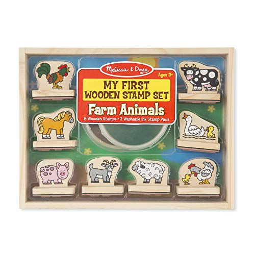 Melissa & Doug First Wooden Stamp Set – Farm Animals Brown and Green, 1 EA