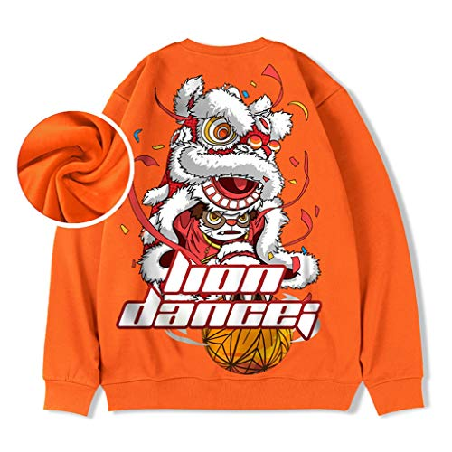 Col Rond Sweat Faten for Homme Sweat-Shirt Hommes Plus Thicken Couple Veste Oversize Automne Hiver Vêtements de Sport (Color : Orange, Size : 3XL/180)