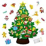Yojoloin Fieltro Árbol de Navidad DIY con 50 Luces LED 32 PCS Adornos Navidad Decoración Colgante para Niños Cafe Hotel Casa Decoración