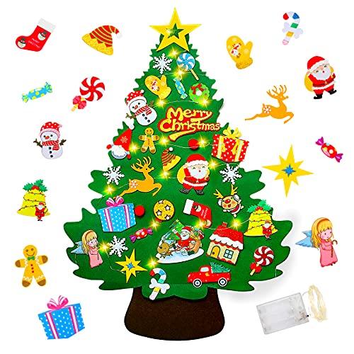 Yojoloin Feltro Albero Natale, 3.28ft Albero Natale, 50 luci a LED 32 Piccoli Ornamenti della Staccabili Decorazioni per Pareti di Porte, Regalo di Natale per Bambini