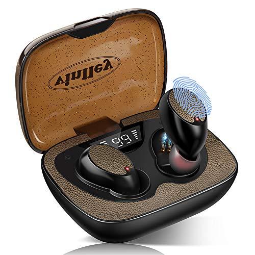 Bluetooth Kopfhörer In Ear Wireless Kopfhörer Kabellos Bluetooth Headset IPX7 Wasserdicht 60 Std. CVC 8.0 Noise-Cancelling Deep Bass Touch-Control Mikrofon 600mAh Ladecase für Smartphone PC Braun