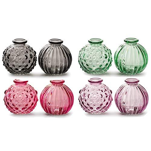 8 x Vasen Jazz H ca. 9 cm in 4 Modellen sortiert Dekovase Glasvase Tischvase Väschen Größe H 8,5 cm